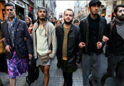 Hombres protestan con minifalda contra la violencia machista en Turquía