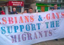 Lesbianas y Gays en apoyo a los migrantes (LGSM) contra leyes racistas