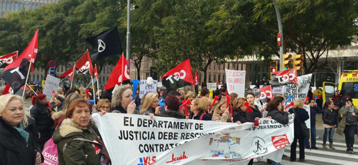 """""""La fregona está en huelga"""" en la Ciutat de la Justicia de Barcelona"""