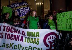 Gran apoyo a Las Kellys en la concentración frente al hotel Hilton