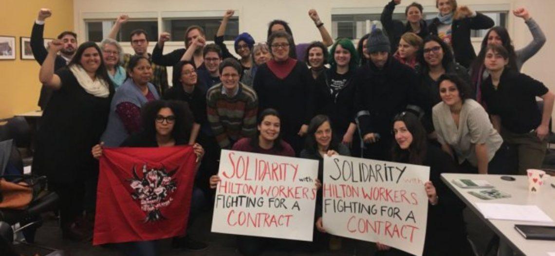 International Women's Strike apoya a las trabajadoras y trabajadores del Hilton