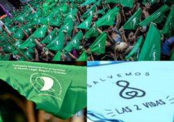 Pañuelos verdes o azules. Por el derecho al aborto ¡Ni un paso atrás!
