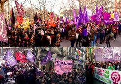Gran participación de Pan y Rosas en las manifestaciones del 8M