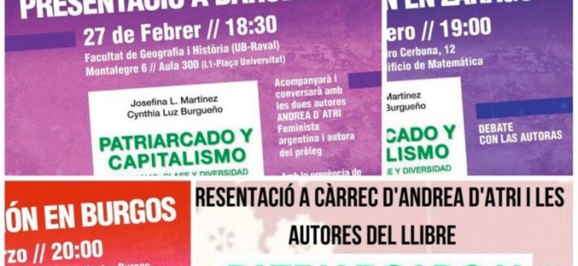 """Presentaciones del libro """"Patriarcado y Capitalismo"""" en Barcelona, Burgos, Zaragoza y Madrid"""